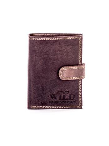 Brązowy skórzany portfel męski z poziomym tłoczeniem