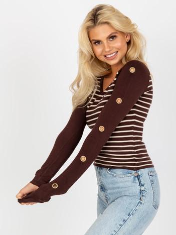 Brązowy sweter damski w paski