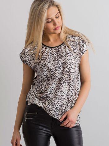 Brązowy t-shirt w zwierzęce wzory