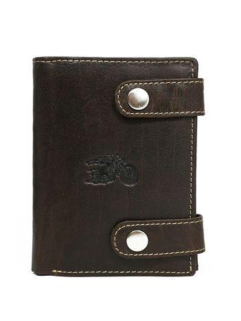 Brązowy zapinany portfel dla mężczyzny