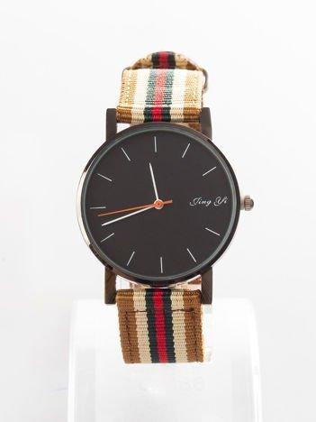 Brązowy zegarek męski z kolorowym paskiem