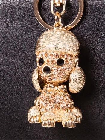 Brelok PUDELEK duży metalowy z cyrkoniami złoty