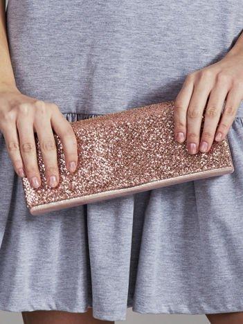 Brokatowa kopertówka z lusterkiem różowa