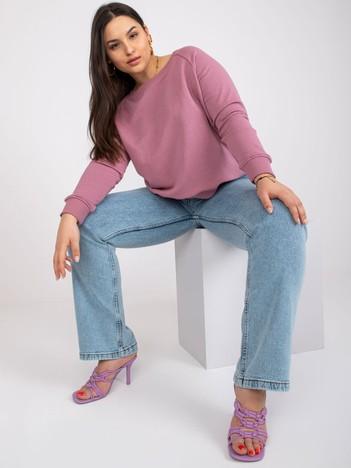 Brudnoróżowa bluza plus size z bawełny Donna
