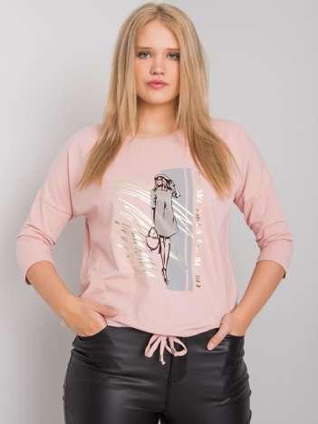 Brudnoróżowa bluzka damska plus size z nadrukiem Vertise