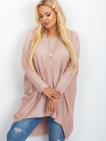 Brudnoróżowy sweter plus size Ester