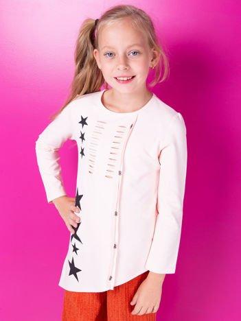 Brzoskwiniowa asymetryczna tunika dziewczęca z gwiazdkami