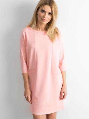 Brzoskwiniowa bawełniana sukienka