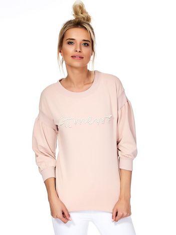 Brzoskwiniowa bluza z perełkami