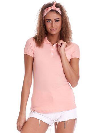 Brzoskwiniowa damska koszulka polo