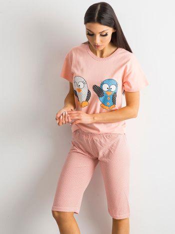 Brzoskwiniowa dwuczęściowa piżama z bawełny
