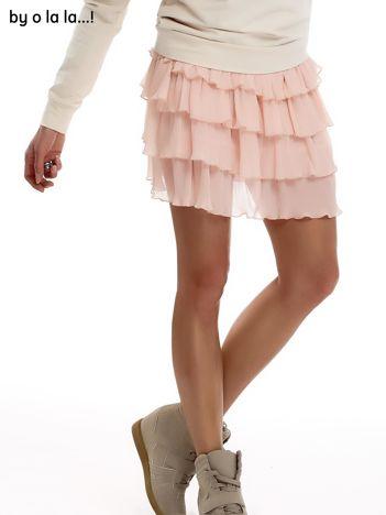 Brzoskwiniowa plisowana spódnica z warstwowymi falbanami BY O LA LA