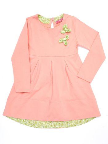 Brzoskwiniowa sukienka dziewczęca bawełniana z ozdobą