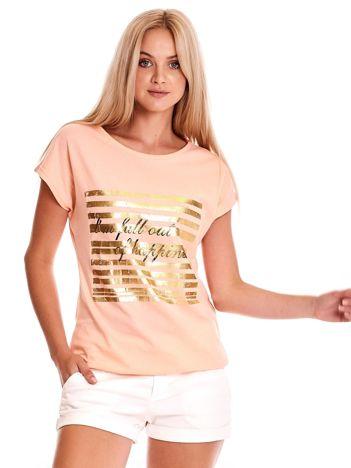 Brzoskwiniowy t-shirt ze złotym printem