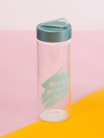 Butelka szklana z uchwytem niebieska