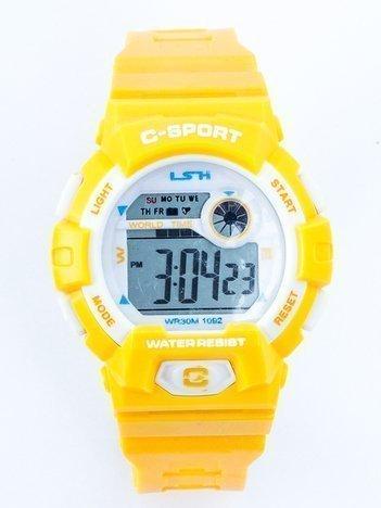 C-SPORT Żółty zegarek wielofunkcyjny z podświetlaną tarczą i alarmem WR 30