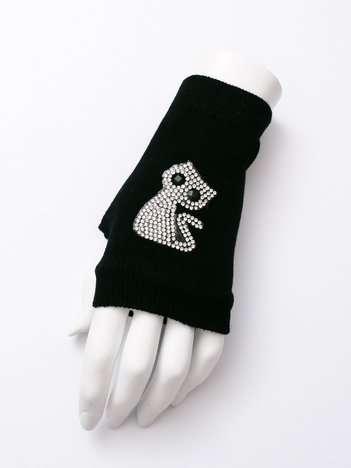 CAT Czarne rękawiczki mitenki z aplikacją