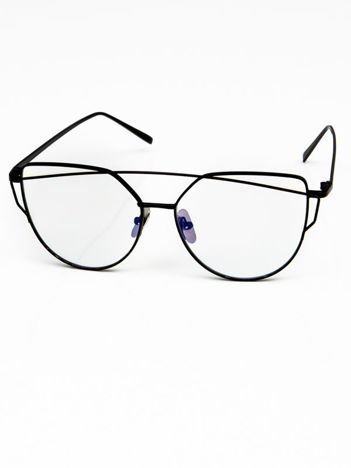 CAT EYES Okulary zerówki czarne Kocie oczy