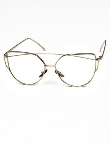CAT EYES Okulary zerówki srebrne Kocie oczy