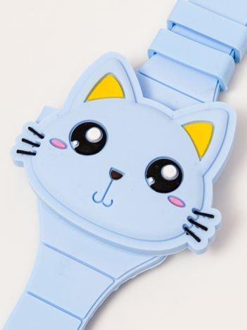 CAT Zamykany Ozdobny Niebieski Zegarek Kot