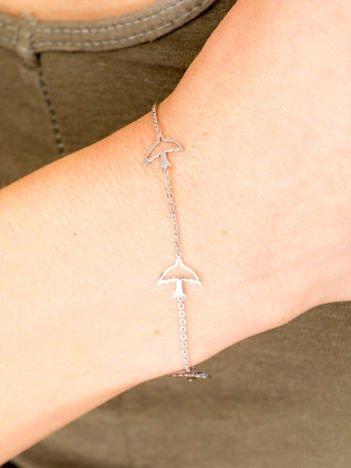 CELEBRYTKA srebrna damska bransoletka z  TRZEMA JASKÓŁKAMI z najlepszej jakości STALI CHIRURGICZNEJ 316L
