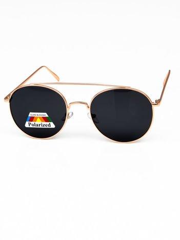 CZARNE POLARYZACYJNE złote okulary typu LENONKI  + miekkie etui i ściereczka gratis szkło szare
