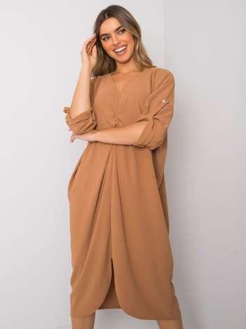 Camelowa luźna sukienka Dorsey