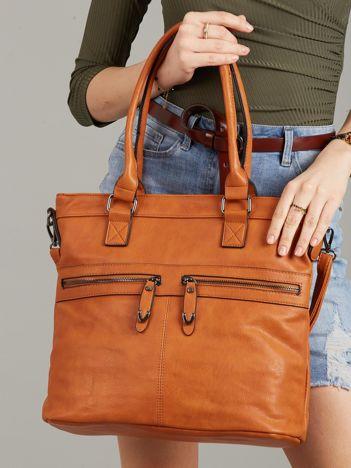 Camelowa torba z kieszeniami