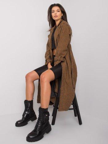 Camelowo-czarny płaszcz z paskiem Saavi
