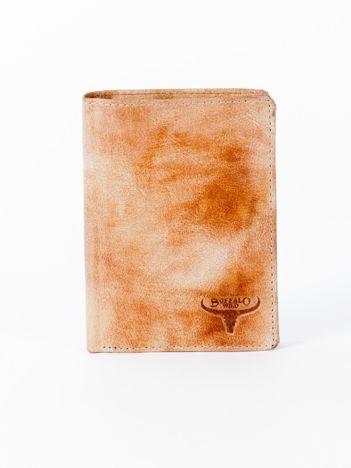 Camelowy cieniowany portfel ze skory naturalnej