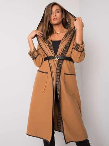 Camelowy płaszcz z kapturem Hannele