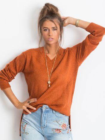 Ceglasty sweter Believe
