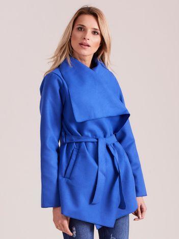 Chabrowy płaszcz z wiązaniem i kieszeniami