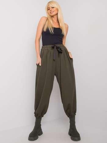 Ciemne khaki spodnie dresowe z szerokimi nogawkami Ferro