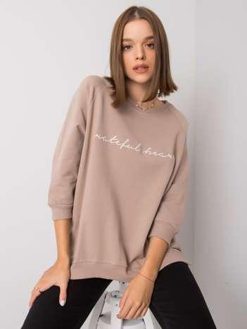 Ciemnobeżowa bluza damska bez kaptura Karissa RUE PARIS