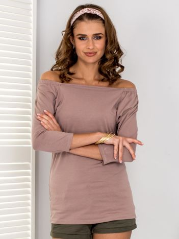 Ciemnobeżowa bluzka hiszpanka