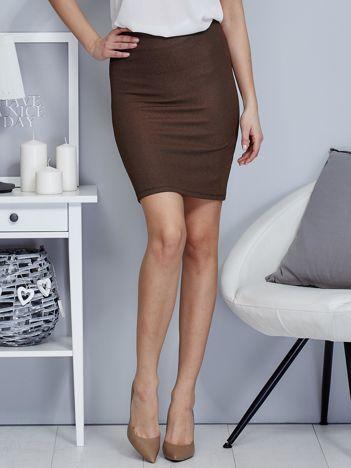 Ciemnobeżowa spódnica w delikatny strukturalny wzór