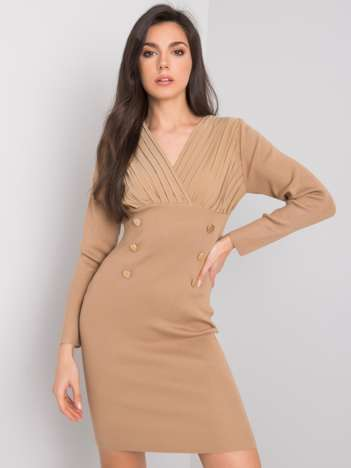 Ciemnobeżowa sukienka dopasowana Arcelia