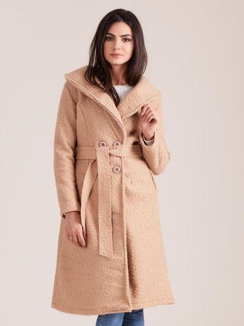 Ciemnobeżowy płaszcz boucle z paskiem