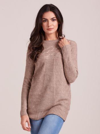 Ciemnobeżowy sweter damski