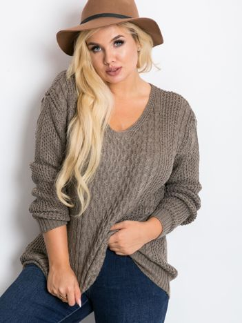 Ciemnobeżowy sweter plus size Tango