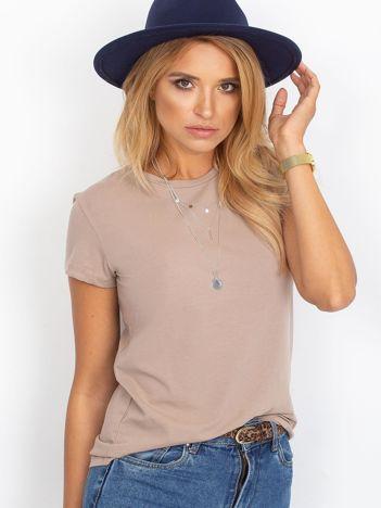 Ciemnobeżowy t-shirt damski