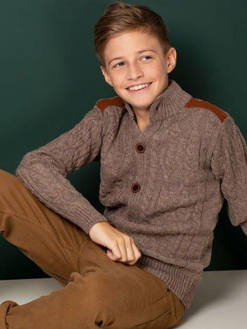 Ciemnobeżowy zapinany sweter dla chłopca