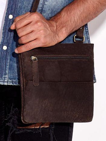 Ciemnobrązowa skórzana torba męska z dzielonymi komorami