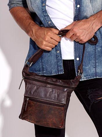 Ciemnobrązowa torba męska ze skóry naturalnej z kieszeniami