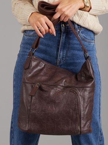 Ciemnobrązowa torba z asymetryczną kieszenią