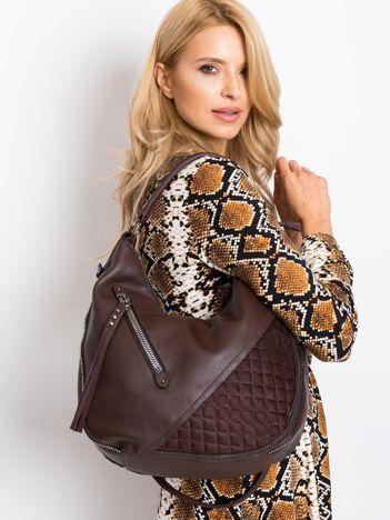 Ciemnobrązowa torba z suwakami