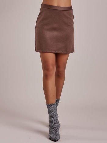 Ciemnobrązowa trapezowa spódnica mini