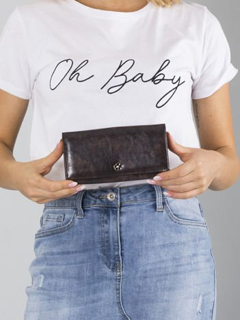 Ciemnobrązowy duży portfel skórzany