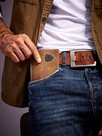 Ciemnobrązowy portfel męski ze skóry z emblematem